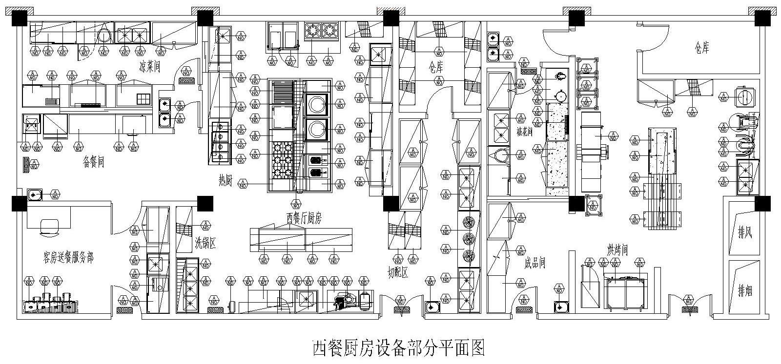 某五星级酒店厨房设备平面图
